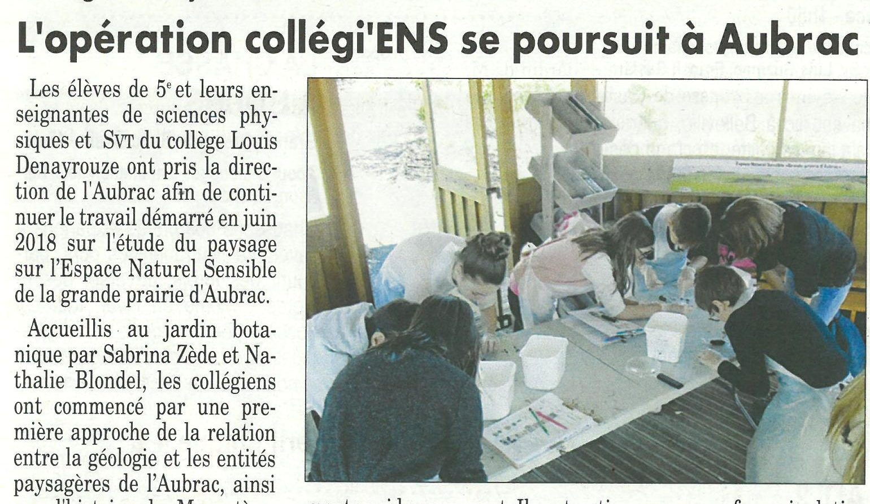 L'opération collégi'ens se poursuit à Aubrac Le Bulletin d'Espalion du 25 10 218.jpg